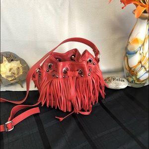 Tylie Malibu Fringed & Studded Bucket Bag